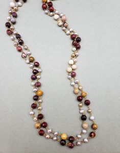 Mookaite and Baroque Natural Pearl Two-Strand Necklace