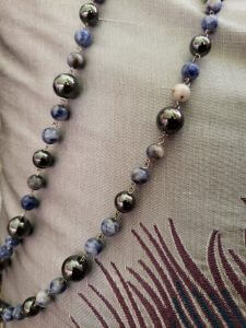 Hematite and Denim Lapis Knotted Sterling Silver Necklace