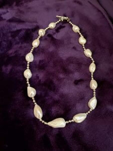 Freshwater Pearl and Sterling Silver Necklace, Rose Clasp