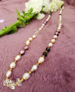 Off White and Mauve Pearls with Faceted Black Garnet and Clear Quartz Knotted Vermeil Necklace