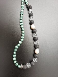 Green Pearls with Black Lava and Faceted Clear Quartz