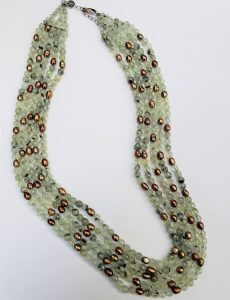 Prehnite and Oval Pearls, Five-Strand Necklace