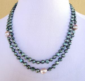 Two-strand Green Freshwater Pearl Necklace