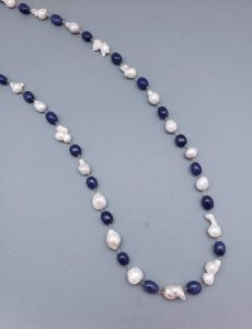 Sapphire and Baby Baroque Pearl Necklace