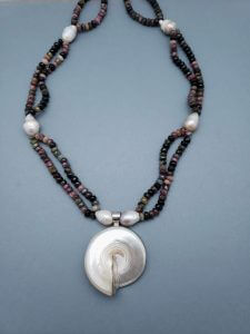 Tourmaline and Pearl Necklace with Mother of Pearl Nautilus Pendant
