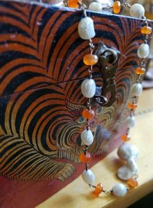 Carnelian and Baroque Pearl Knotted Vermeil Necklace
