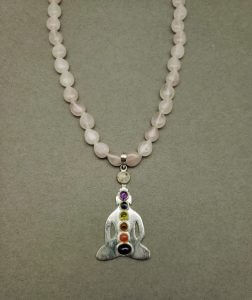 Rose Quartz Necklace with Sterling Silver Chakra Pendant