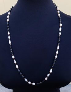 Black Garnet Necklace with Freshwater Pearls