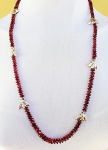 Garnet Necklace with Pewter Bees