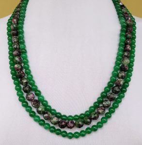 Ruby Zoisite and Green Agate Necklace