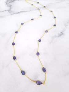 Bezel-Set Tanzanite Necklace