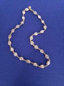 Bezel-Set Moonstone Necklace