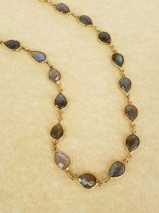 Bezel-Set Labradorite Necklace