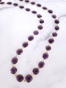 Bezel-Set Amethyst Necklace
