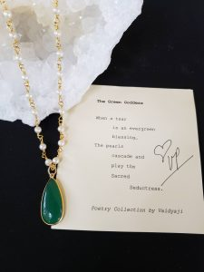 Green Onyx Necklace with Pearls