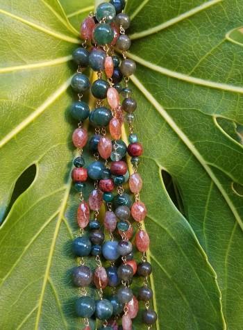 Sandalwood, Sunstone, Jade, Jasper, Agate, and Labradorite Knotted Vermeil Necklace