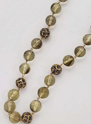 Lemon Quartz and Original Design Zircon and Vermeil Beads