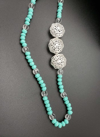 Carved Turquoise Necklace with Clear Quartz and Three Silver Flower Net Beads