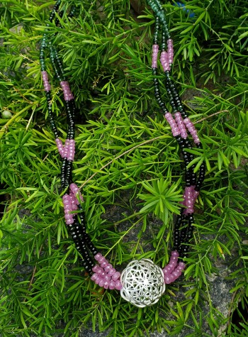 Green Tourmaline and Pink Sapphire Three-Strand Necklace with Sterling Silver Festoon