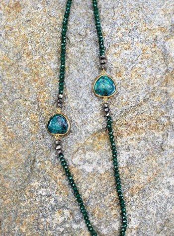 Emerald and  Pyrite Necklace with 2  Eliat (King Solomon) Stone Festoons