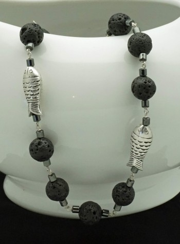 Black Lava, Hematite, Sterling Silver Fish Necklace