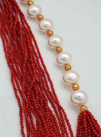 15 – Strand Red Coral, Pearl and 24K Gold Foil Bead Necklace