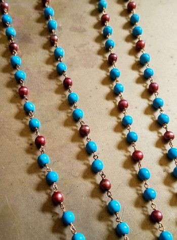 Two-strand knotted Turquoise and Pearl Necklace