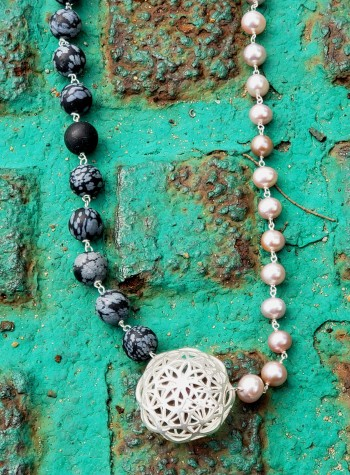 Snowflake Obsidian and Pearl Necklace With Sterling Silver Festoon