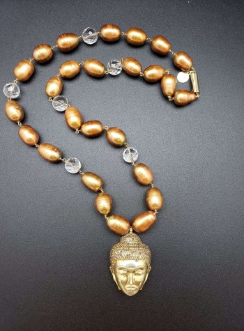 Baroque Pearl, Faceted Clear Quartz Necklace with Inlaid Tourmaline Buddha Pendant