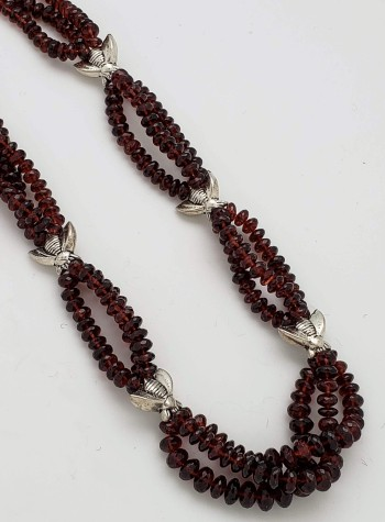 Three-strand Faceted Garnet and Pewter Bees Necklace