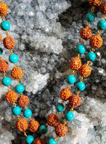 Rudraksha and Turquoise Necklace