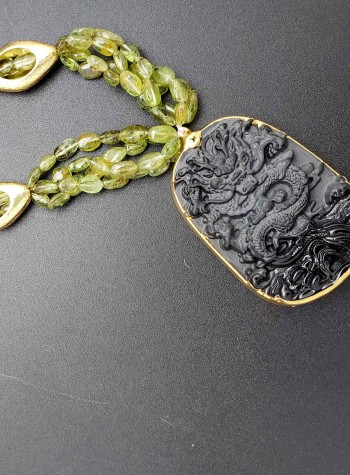 Four-strand Peridot and 24K Gold Foil Oval Bead Necklace with Black Agate Dragon Pendant