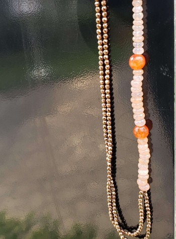 Two-strand Chalcedony, Copper Hematite and Carnelian Necklace