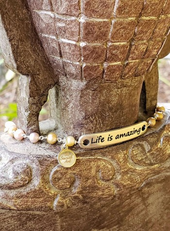 "Pearl Necklace with ""Life is Amazing"" Bar"