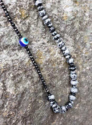 Mystic Merlinite, Black Spinel and Evil Eye Necklace