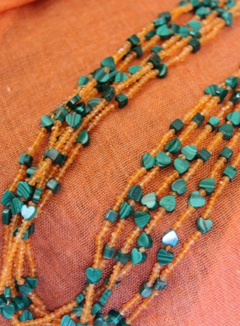Malachite and Orange Garnet Six-Strand Necklace