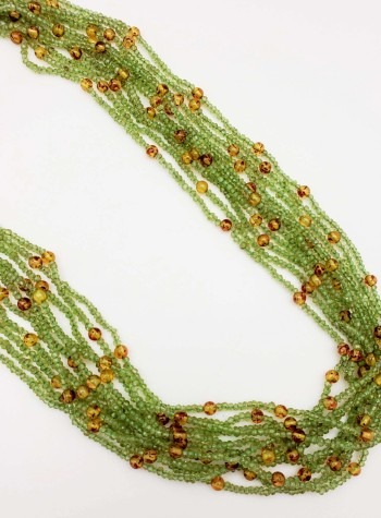 Peridot and Amber 11-Strand Necklace