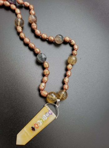 Ethiopian Prayer Beads with Lemon Quartz/Mixed Sapphire and Azeztulite