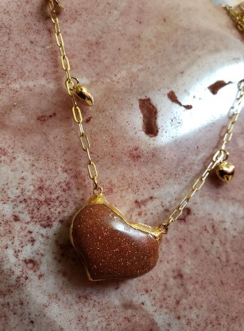 Tears of Joy Chain with Gold Sandstone Heart Pendant
