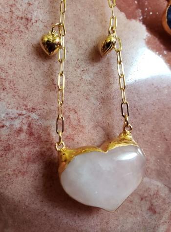 Tears of Joy Chain with Rose Quartz Heart Pendant