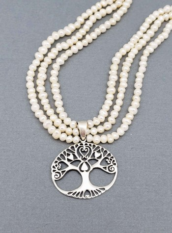 Three-strand Pearl Necklace with Sterling Silver Tree of Life Pendant