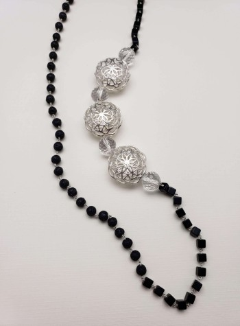 Obsidian and Black Lava Knotted Sterling Silver Necklace with Sterling Silver Festoons