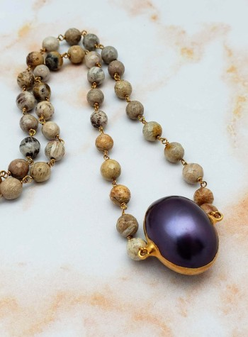Picture Jasper and Pearl Necklace