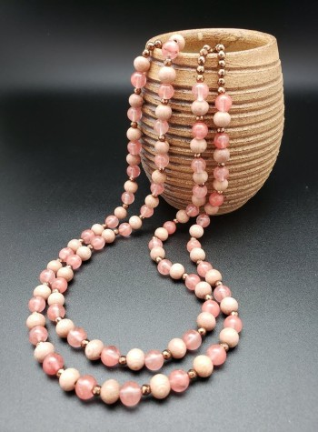 Two-strand Rosewood, Pink Chalcedony and Copper Necklace