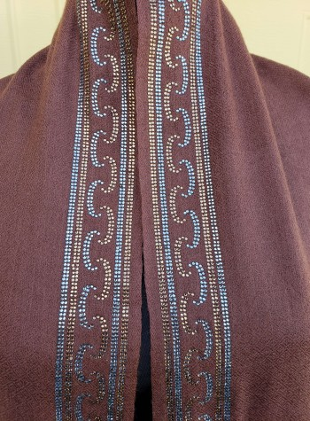 Brown Shawl with Swarovski Crystals Border