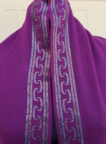 Plum Shawl with Swarovski Crystals Border