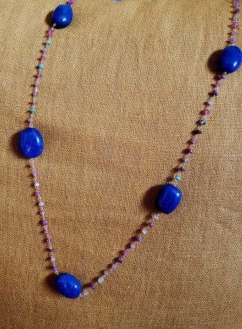 Lapis and Sapphire Knotted Vermeil Necklace