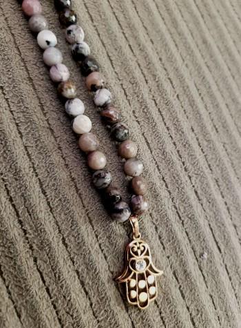 Jasper Necklace with Copper-Plated Hamsa Pendant