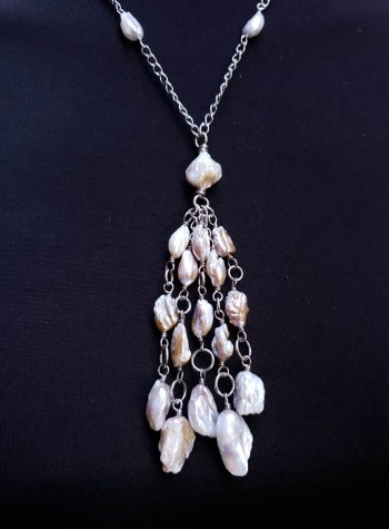 Baroque Pearl Sterling Silver Chain Necklace