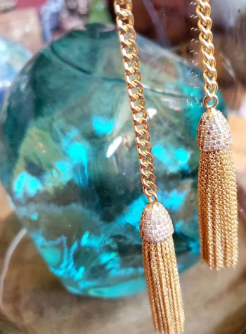 Gold-Plated Lariat with Tassels